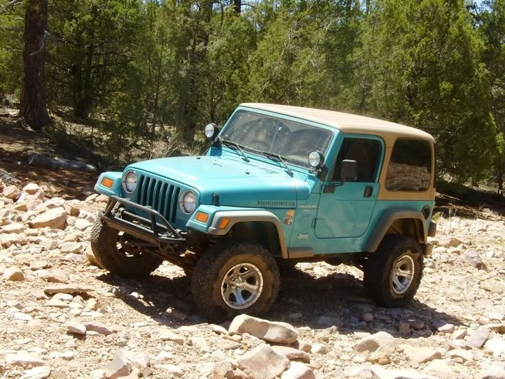 I will have you someday! '97 Teal Jeep Wrangler with Tan Interior and Topper <3