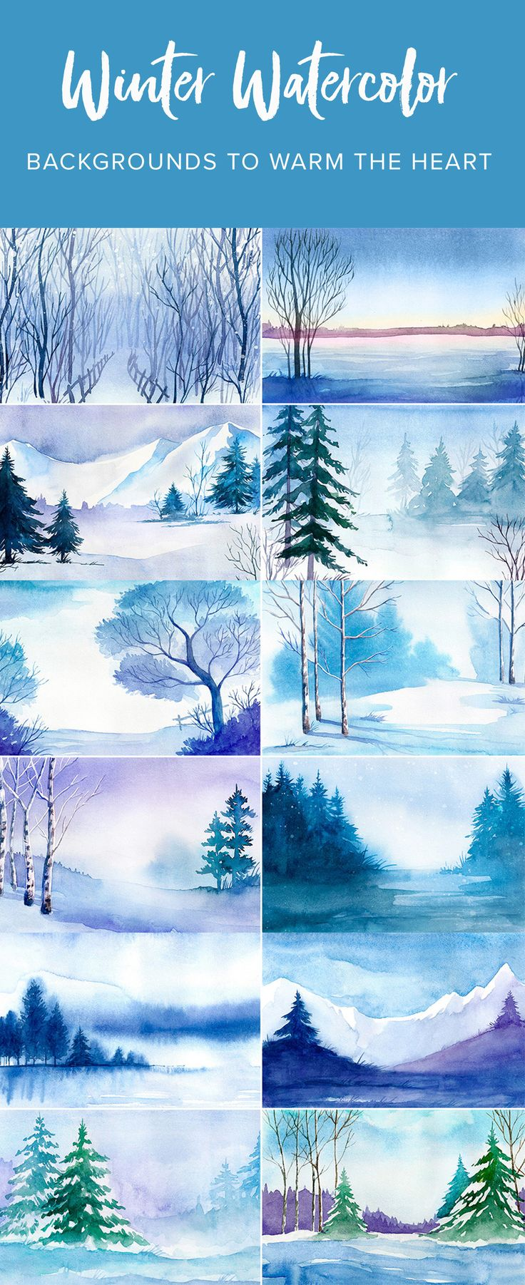 Here are a dozen winter watercolor wonderlands to choose among. Do you prefer mystical forest paths, frozen lakes, snow-covered mountains, or the simple splendor of evergreen pines? I hear Santa has a few of these on posters with motivational quotes for his elves.
