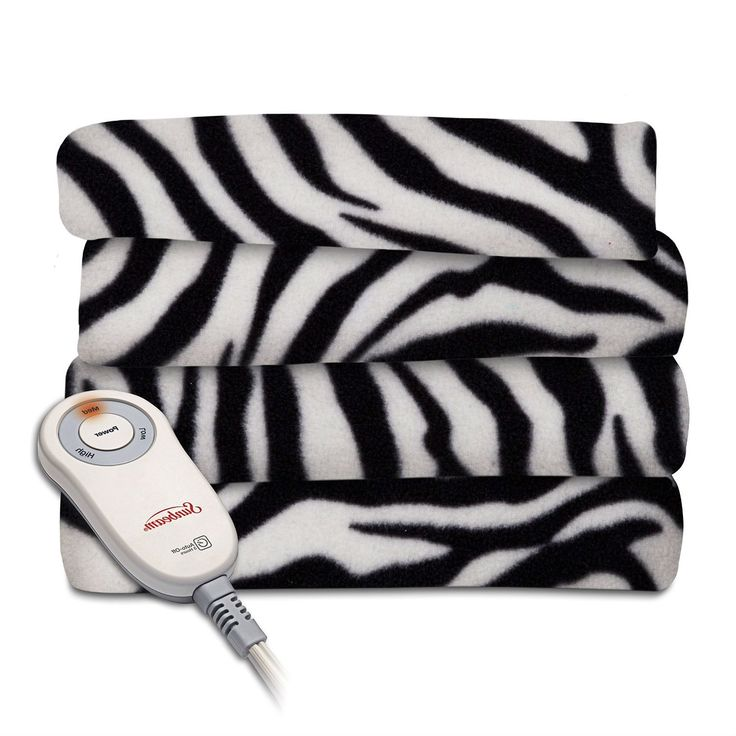Zebra Fleece Heated Electric Throw Blanket in Black and White