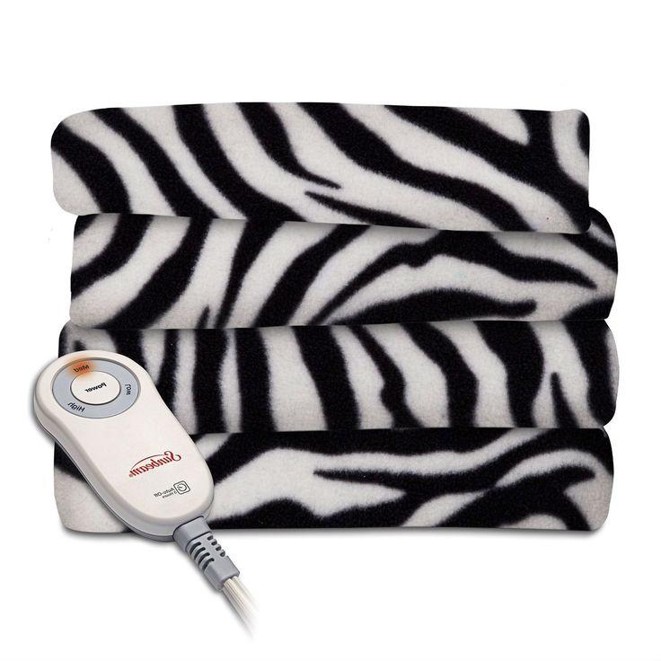 Zebra Fleece Heated Electric Throw Blanket in Black and White