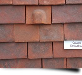 A bat tile on display from Heritage Clay Tiles Ltd