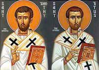 St. Timothy, born in Galatia in Asia Minor, was baptized and later ordained to the priesthood by St. Paul. The young Galatian became Paul's missionary companion and his most beloved spiritual son. St. Paul showed his trust in this disciple by consecrating him bishop of the great city of Ephesus.