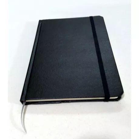 Caderno capa dura em couro PRETO - sem pauta - Estilo Moleskine