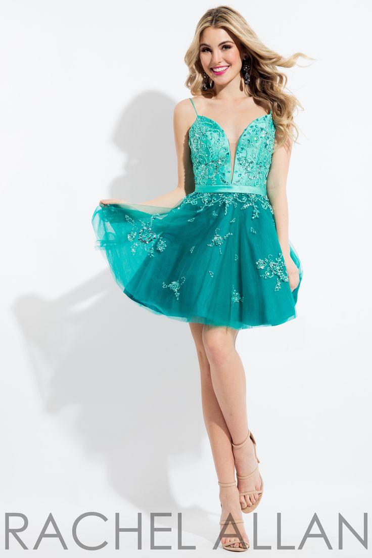 Rachel Allan 4395 Mint/Jade Deep V Neck Short Dress
