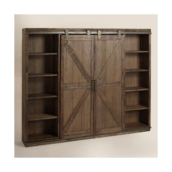 Cost Plus World Market Wood Farmhouse Barn Door Bookcase ($1,300) ❤ liked on Polyvore featuring home, furniture, storage & shelves, bookcases, brown, book display shelves, wood book shelves, storage bookcase, wooden bookcases and sliding door bookcase