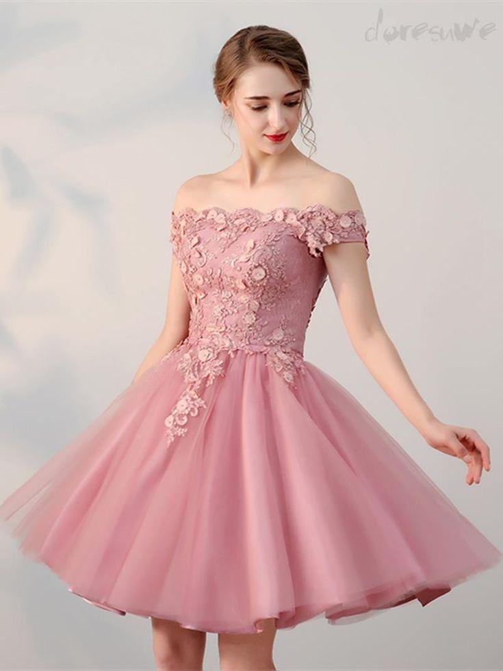 新作オフショルダーAライン膝丈 アップリケ 編み上げタイプ ピンク 可愛いレデイース二次会ドレス きれいめドレス 13109945 - 人気二次会ドレス - Doresuwe.Com