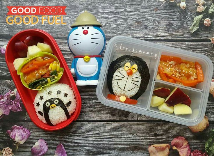 Pinguin & Doraemon Bento : Sweet & Sour Pork With Stir Fry Corn Spinach