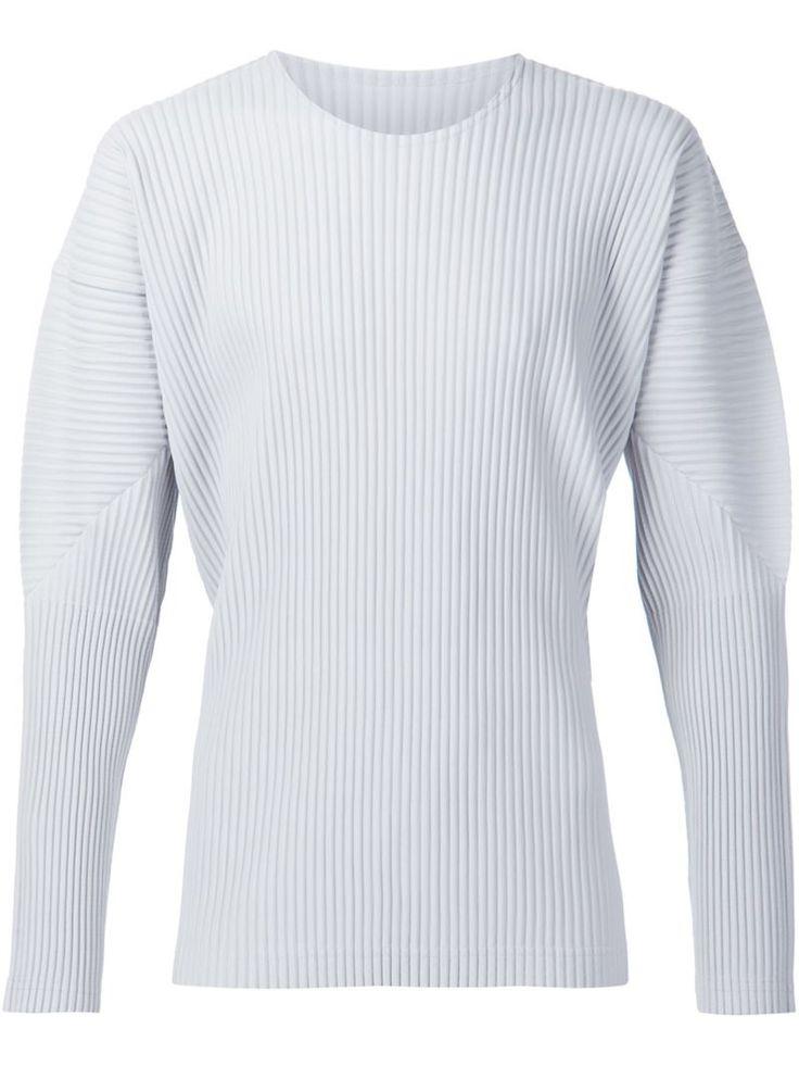 Homme Plissé Issey Miyake long sleeve pleated T-shirt, Men's, Size: 4, Grey