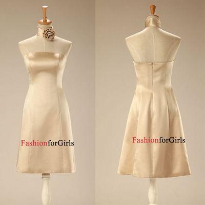 Simple Modest Champagne Strapless Satin A-Line Cheap Short Prom Dress Bridesmaid Dress BD1012