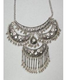 Osmanlı Motifli Gümüş Kaplama Zincir Kolye Yeni Tasarım Metal Kolye