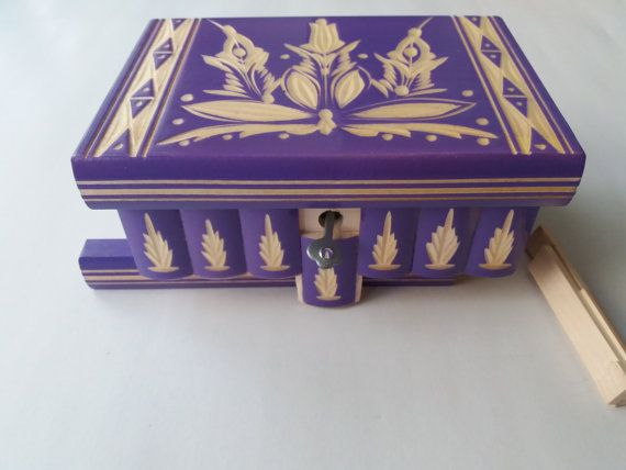 Purple puzzle box,magic box,special carved jewelry box, wizard mystery box,secret box,tricky box,carved wooden box,perfect Valentine's gift