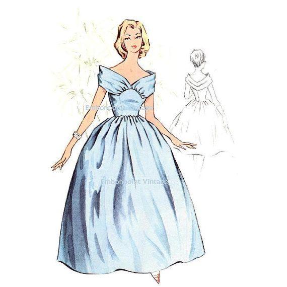 Plus Size (or any size) Vintage 1950s Bridesmaid Dress Pattern - PDF - Pattern No 117 Charlotte