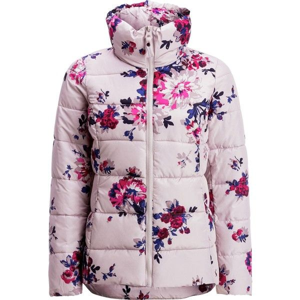 Joules Florian Printed Padded Jacket (7.785 RUB) ❤ liked on Polyvore featuring outerwear, jackets, pink jacket, pink zip up jacket, joules jacket, tailored jacket and zip up jackets