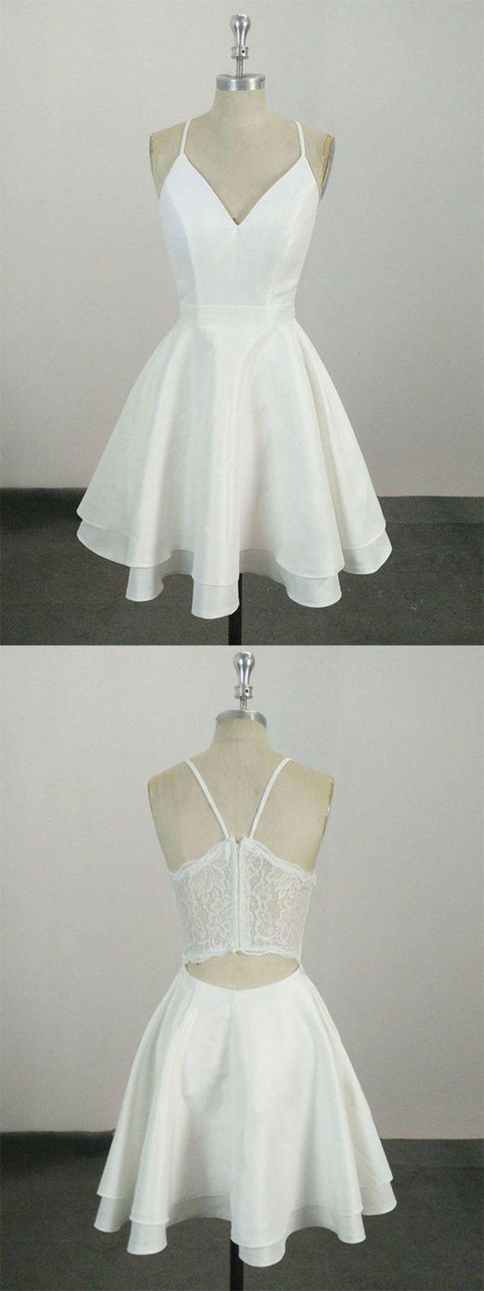 White Spaghetti Straps Short Prom Dress,Mini Dress,V-Neck Prom Dress