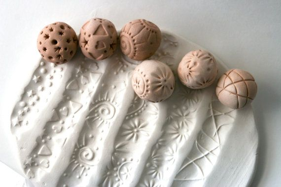 Clay Sculpture Ball, JUST ONE SMALL, Choose Your Pattern Tool for Texturing Pottery Ceramics Polyclay