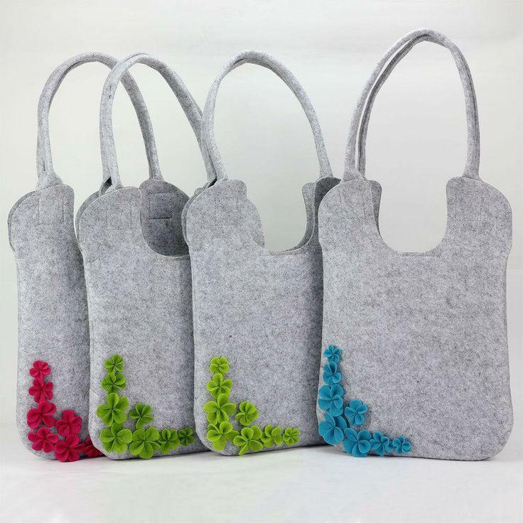 2087 designer 3D flower felt tote bags/ totes