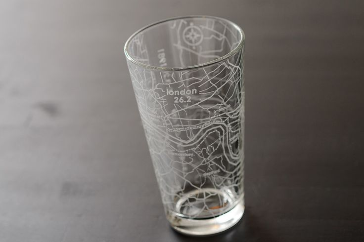 London 26.2 Marathon Map Pint Glass by theUncommonGreen on Etsy https://www.etsy.com/listing/465197648/london-262-marathon-map-pint-glass