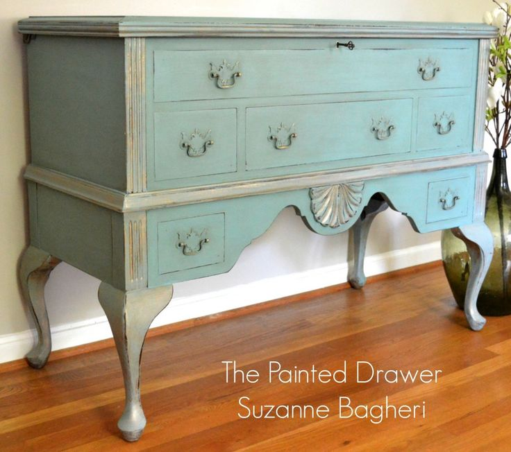 A French Cedar Blanket Chest | The Painted Drawer  I could add QA legs and a platform to mine. Thin fake drawers on front and 2 real drawers on bottom platform.