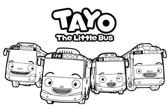Tayo Group Coloring Page Warna Gambar Kartun
