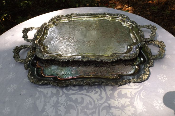 "Lot 2 Delightful 25.5"" Extra large 30.5"" Silver Plated Victorian  serving tray…"