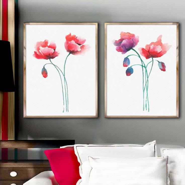 Red Poppies Watercolor Wall Art, Poppies Red Home Decor, Wall Decor Gift for Women, Flowers Illustration, Abstract Flower Painting Set of 2