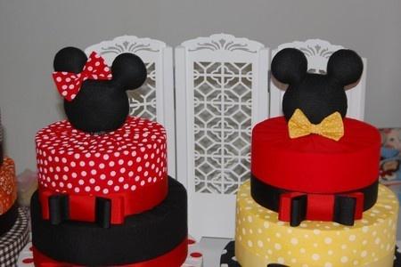 Bolo Fake tecido cabeça de Mickey Ou Minnie