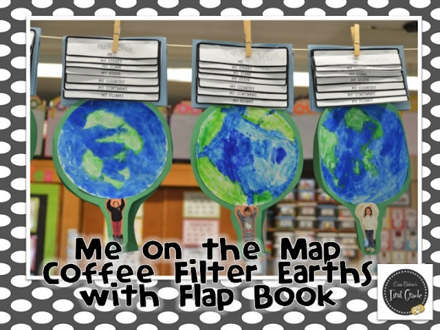 Me on the Map Idea (Erica Bohrer): Grade Social, Coffee Filter, Grade Spring, School Ideas, Flip Book, Spring Exhibit, Classroom Ideas, Social Studies, First Grade