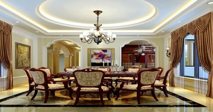 Interior, : Attractive Image Of Dining Room Decoration Using White LED Lamp For Dining Room Ideas Using White Gypsum Ceiling Designs And Brown Curtain For Dining Room Dieas