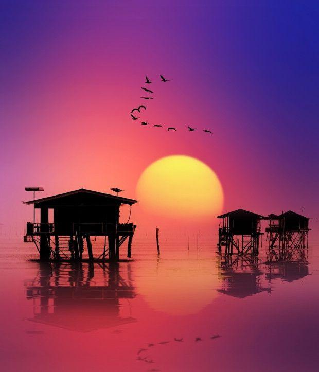 Sunset at Ban Laem, Thailand