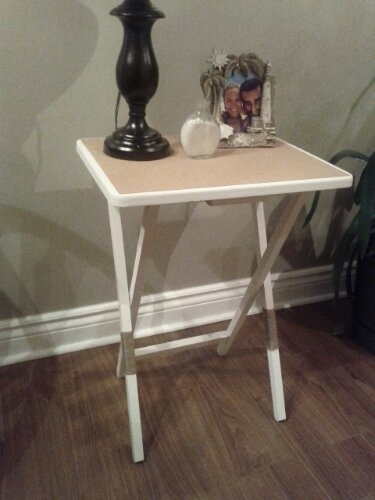 DIY - Repurposed wooden TV Trays into cute bedside tables. www.sustainablyfrugal.com