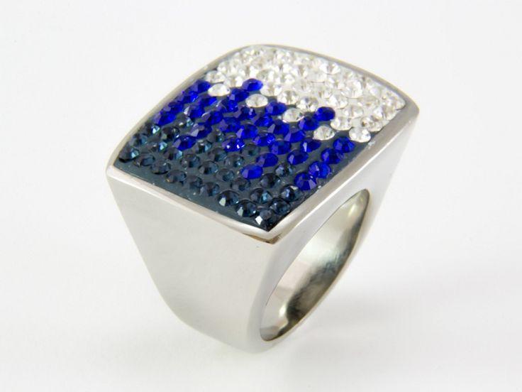 Kék színátmenetes Swarovski kristályos nemesacél gyűrű