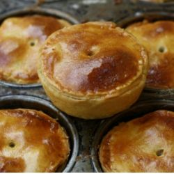 Homemade pork and apple pies  Traditionally served cold with salad and pickles, pork pies are also great in lunchboxes.