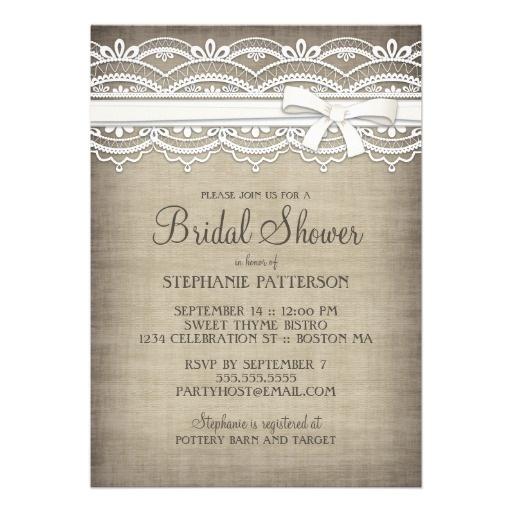 Vintage Lace  Linen Rustic Elegance Bridal Shower Personalized Announcement http://www.zazzle.com/vintage_lace_linen_rustic_elegance_bridal_shower_invitation-161601307737941472?rf=238835258815790439