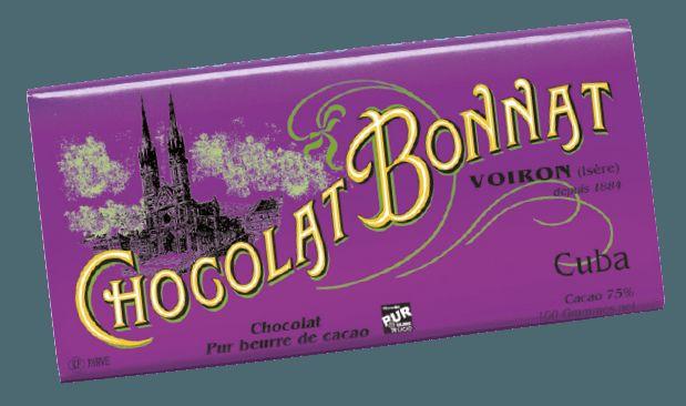 Image d'une tablette de chocolat Bonnat Grand Cru d'Exception 75% de cacao Cuba dans son emballage violet.�