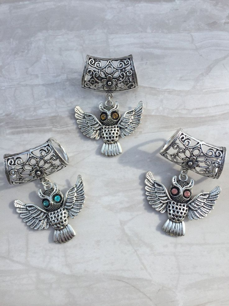 Rhinestone Owl Scarf Bail, Silver scarf bail, scarf pendant, scarf ring, scarf slider, scarf accessory, scarf jewelry, scarf charm by DianaSianCrafts on Etsy