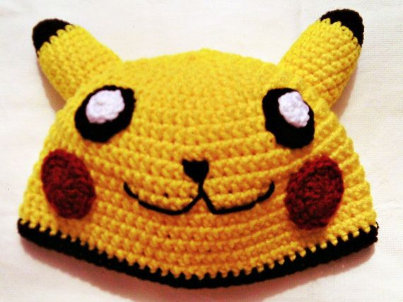 $20.00 Pikachu Inspired Crochet Hat/Pokemon by CraftySchmaftyMe on Etsy