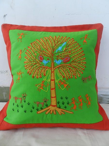 Hand Embroidered cushion covers by rural women of a village of Bhopal. Buy and support them to make a livelihood. Mail --> ahambhumika@gmail.com