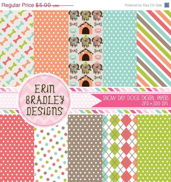 50% OFF SALE Winter Snow Day Dogs Digital Paper Pack INSTANT Download