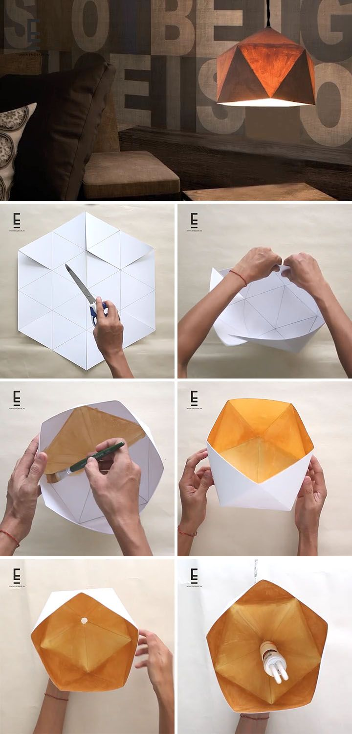 Here's an easy DIY Geometric Paper Lampshade for those who enjoy origami-inspired geometric modern home decor