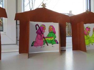 kerststal knutselen met kleuters, kleuteridee.nl , met gratis werkbladen, free printable