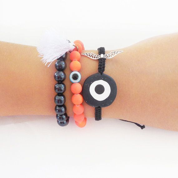 evil eye bracelet macrame bracelet set beaded by christelboutique