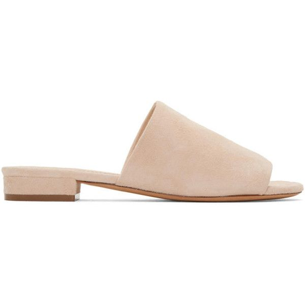 Mansur Gavriel Beige Suede Flat Mules found on Polyvore featuring shoes, sandals, beige, slip on sandals, mule sandals, flat sandals, flat mules shoes and block heel mules