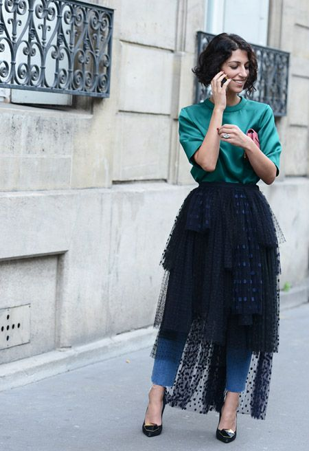 Spring '14 Paris Fashion Week Street-Style Photos by Tommy Ton  Sweatshirt and jeans plus a layered lace skirt and killer pumps.