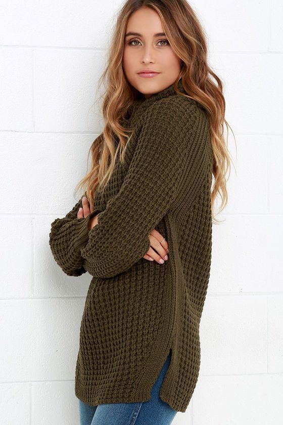 Parker Bridge Olive Green Sweater at Lulus.com!
