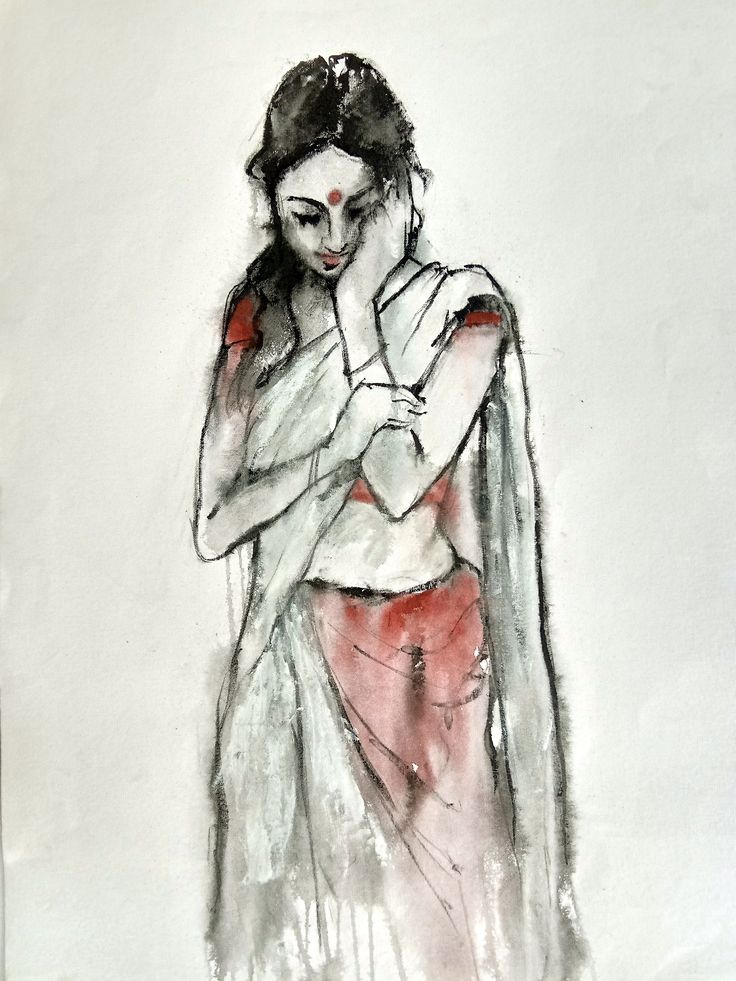 Indian lady 2 in 2020 Art, Indian painting, Indian artist