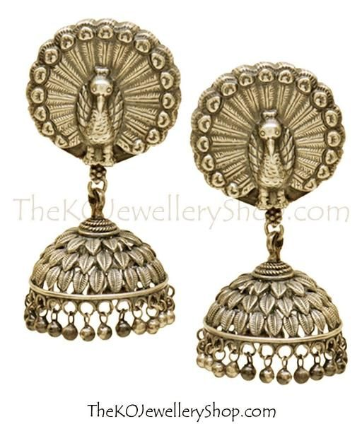 The Vanini Silver Peacock Jhumka