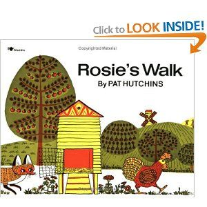 Rosie the hen leaves the chicken coop and sets out for a little walk. Right behind her is the fox, slyly trying to catch up with her. Rosie's walk is quiet, uneventful and eventually leads her back to the coop, blissfully unaware of the fox's travails as he tries -- unsuccessfully -- to navigate the obstacle course that Rosie has led him through.