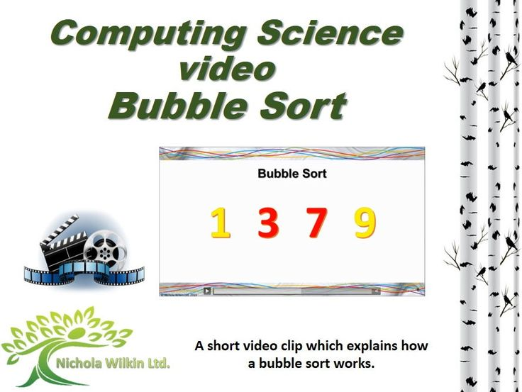 Computer science video – Bubble sort.  Ideal for teaching the UK computing curriculum.