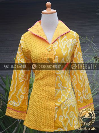 Model Baju Batik Wanita Opnaisel Megamendung Kuning | Indonesian Unique Batik Tops Clothing for Women - Men http://thebatik.co.id/baju-batik/