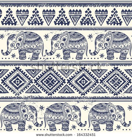 Ethnic elephant seamless pattern - stock vector